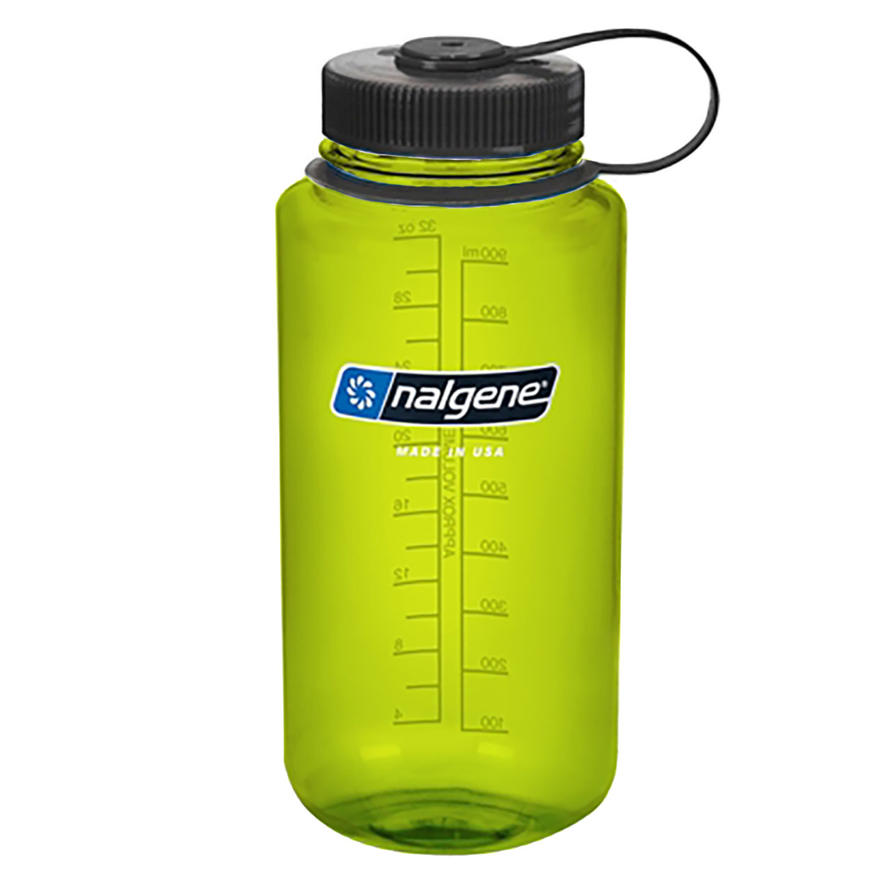 Nalgene Wide Mouth Water Bottle 32 Oz Green W Black Cap